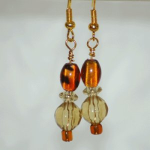 Brown Glass and Golden Beads Drop Earrings Handcrafted Gold Tone  LKJ