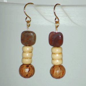 Brown Marbled Gemstone and Wooden Beads Drop Earrings Handcrafted Gold Tone  LKJ