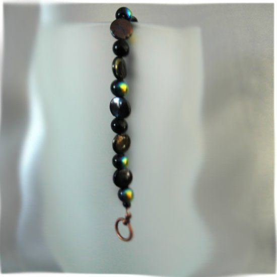 Black Coin Dichroic Round Black Bead Toggle Clasp Handcrafted Antique Copper Tone Bracelet LJK