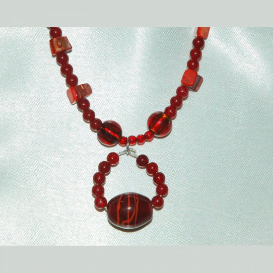 Red Glass Red Shell Large Red Focal Bead Handcrafted Silver Tone Necklace LKJ