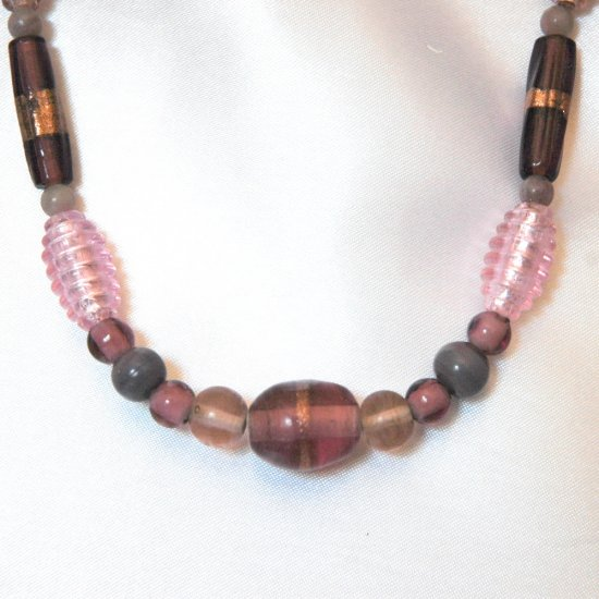 Pink and Purple Glass Focal Bead, Lilac Gemstone Handcrafted Gold Tone Necklace LKJ