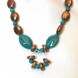 Reflective Brown Glass  Necklace Turquoise Colored Oval Handcrafted  LKJ