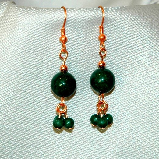 Mountain Jade  Emerald  Green Colored Copper Tone Earrings  LKJ