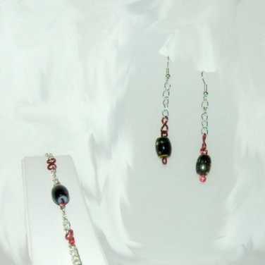 Black Multi Color Bead Red Twisted Link Silvertone Earring ~ Bracelet Set LKJ