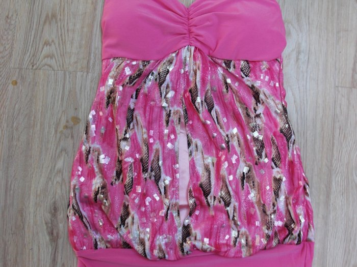 Fancy Pink Decor Sexy Club Dress (B2-0012)