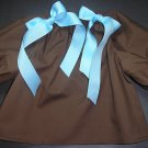 Custom Chocolate Long Sleeved Pillowcase Dress with  Blue and Pink/Chocolate Accent Bows