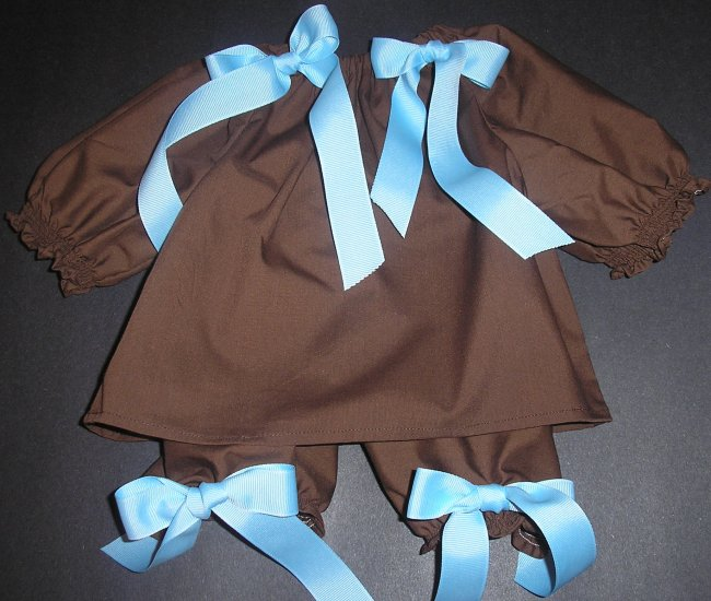 Custom Boutique Chocolate Long Sleeved Pillowcase Dress and Pantaloons
