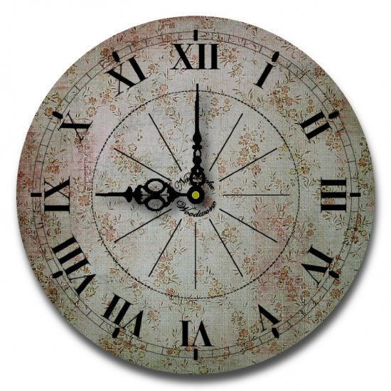 "12"" Decorative Wall Clock (Soothing Floral Clock)"