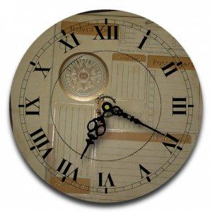 "12"" Decorative Wall Clock (Travel Log)."