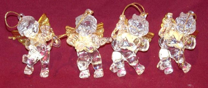 CRYSTAL CLEAR ACRYLIC W/GOLD ANGEL FIGURINE CHRISTMAS ORNAMENTS