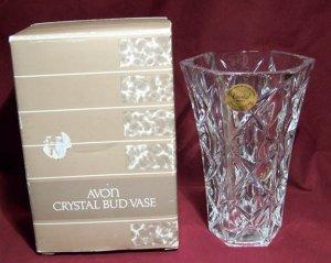 Vintage 1987 Avon Crystal Bud Vase - Original Sticker and Box