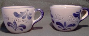 2 VINTAGE GERMAN FOLK ART KLEIRABA POTTERY ~ Mama & Papa ~ Over-sized Cups