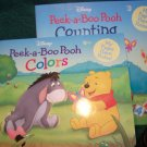 2 Cute Peek-a-Boo Pooh Disney Books - Colors and Counting