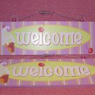2 Welcome Wooden Hanging Signs NEW
