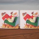 2 Coca-Cola Santa Claus Cork Backed Coke COASTERS 2000