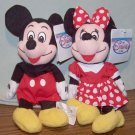 DISNEY'S MINNIE AND MICKEY MINI PLUSH BEAN BAGS Beanie NWT