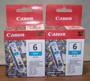2 Canon Ink Cartridges BCI-6C Cyan Cartridges