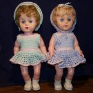 2 Vintage 60's Drink and Wet Dolls in Handmade Crocheted Outfits