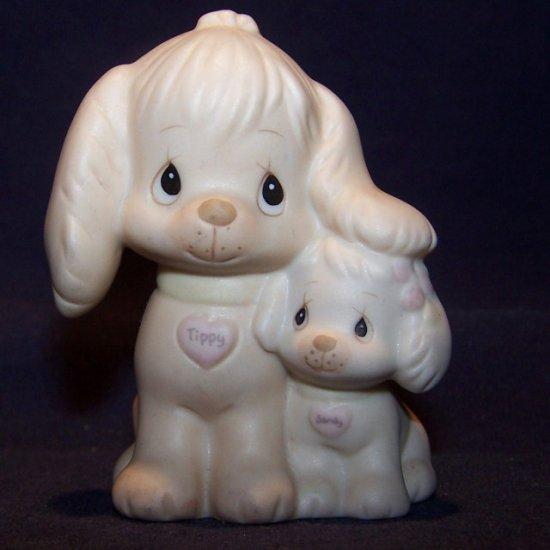Precious Moments 1988 PUPPY LOVE Figurine w/Tippy & Sandy
