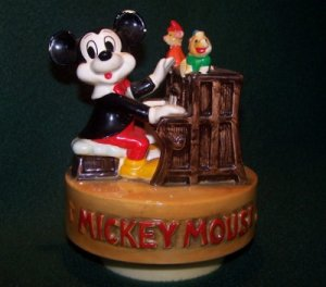 Vintage Hand Painted Mickey Mouse Piano Player Music Box - Walt Disney Productions