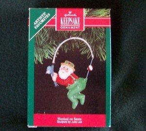 Hallmark Ornament Hooked on Santa 1991 Fishing Pole