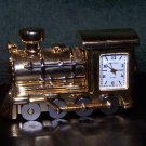 Vtg LOCOMOTIVE TRAIN CLOCK Sergio Valente Collectible Gold Stainless Steel