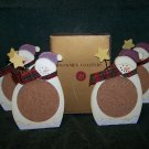 Snowman Coasters – Box of 4 Hand-Painted Wood w/Cork - Never Used
