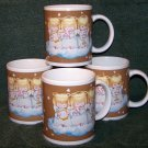 Hallmark 3 Angels on Clouds Set of 4 Coffee Mug Cups
