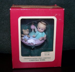 Granddaughter's First Christmas Heirloom Ornament Carlton Cards �Christmas Whirl� � 1990 - NIB