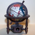 VINTAGE ROTATING WORLD GLOBE PENCIL SHARPENER METAL FRAME PAPERWEIGHT RETRO