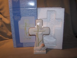 Precious Moments Boy Baptism Porcelain Christening CROSS 2 pc Personalize LIke NEW in Box