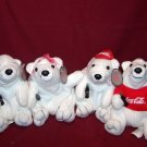 4 Coca Cola Plush Polar Bears - Orig. Coca-Cola Coke Brand - With Tags - 1997