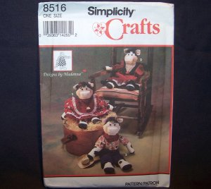 Simplicity Crafts 8516 ~ One Pattern Size ~ Cows & Clothes NEW IN PACKAGE