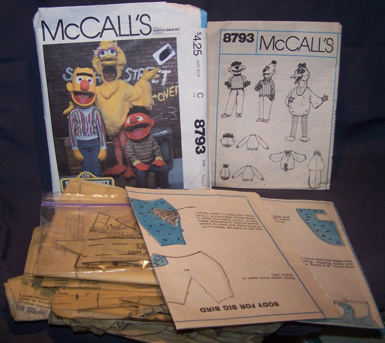 RARE Sesame Street Big Bird, Bert & Ernie Costume Patterns â McCallâs 8793  Small 4-6