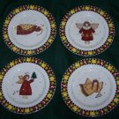 GATHERING OF ANGELS BY DEBBIE MUMM: Set of 4 Dessert/Salad Plates by Sakura