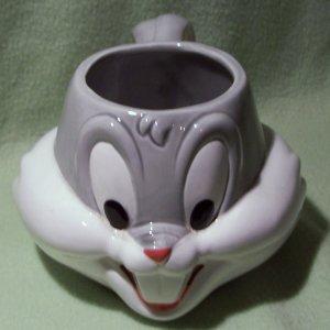 1989 Warner Bros Bugs Bunny 3D Soup Ceramic Coffee Mug Cup