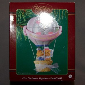 First Christmas Together 2003 Balloon Carlton Christmas Ornament Teddy Bear Couple