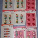 Vintage Wilton Candles – 16 Circus Clowns, 6 Pencils & 12 Heart Cake Candles  NIP