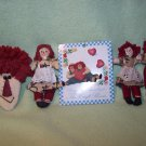 Raggedy Ann & Andy Cloth Hand Made Ornaments, Doll and Pins & Earrings
