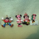 4 Disney Christmas Holiday Mickey, Minnie and Goofy Mini Ornaments