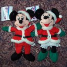 DISNEY'S MICKEY & MINNIE MOUSE  - SANTA & MRS. SANTA MINI PLUSH BEAN BAGS Beanie NWT