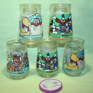 5 Welch�s Jelly Jars - 2 Mickey Mouse & 2 Pooh  & 1 Muppets -  Glass