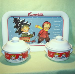 Lot of (2) Campbell's Soup Covered Soup Bowls & Metal Tray