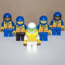 Lot of 5 Lego Coast Guard City Minifig Mini Figures w/Helmets & Access.