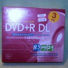 3 pk Memorex Dual / Double Layer DVD+R DL 2.4X – 8.5GB  240 Min – NEW in BOX