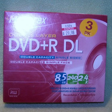 3 pk Memorex Dual / Double Layer DVD+R DL 2.4X � 8.5GB  240 Min � NEW in BOX