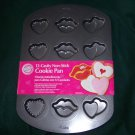 NEW WILTON 12 Cavity Non-Stick Cookie / Cake Pan - Hearts and Kisses Design Mold
