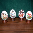 4 Avon Collectible Porcelain Eggs - Bird Designs & Sayings for Each Season