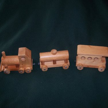 3 Pc. Wooden Train Set � Hand Made - Rustic Wood