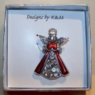 Prayer Angel Pendant/Brooch Breastpin Red Enamel Stones Silver Tone Retro NIB